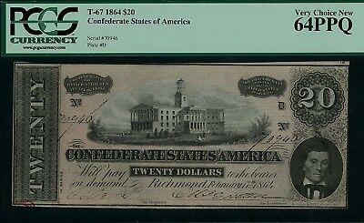 1864 20 dollar confeferate note 64PPQ uncirculated