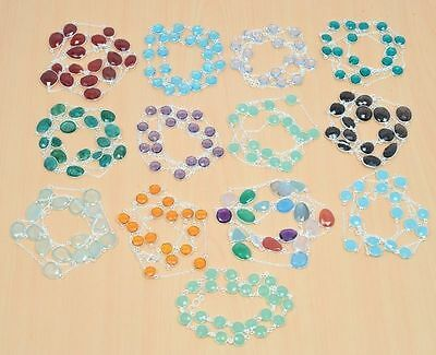Wholesale 25Pc 925 Solid Sterling Silver Natural Smokey & Mix Stone Necklace Lot