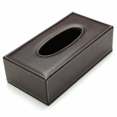 Leather Rectangular Tissue Cover Box Holder Case Pumping Paper Hotel Home Car X1