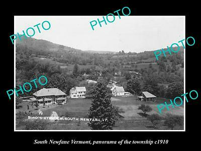 OLD LARGE HISTORIC PHOTO OF SOUTH NEWFANE VERMONT, PANORAMA OR THE TOWN c1910