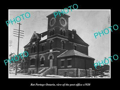 OLD LARGE HISTORIC PHOTO OF RAT PORTAGE ONTARIO CANADA, THE POST OFFICE c1920