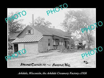 OLD LARGE HISTORIC PHOTO OF ARKDALE WISCONSIN, THE ARKDALE CREAM FACTORY c1920