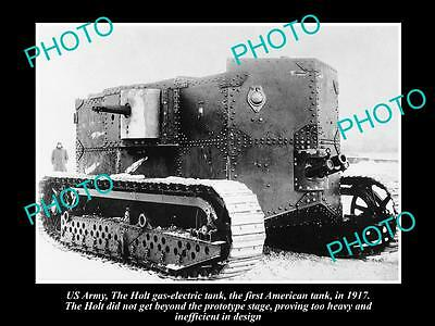 Old Large Historic Photo Of Us Army Wwi, The Holt Gas Tank Prototype 1917