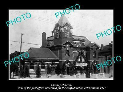 OLD LARGE HISTORIC PHOTO OF CHESLEY ONTARIO CANADA, THE POST OFFICE c1927