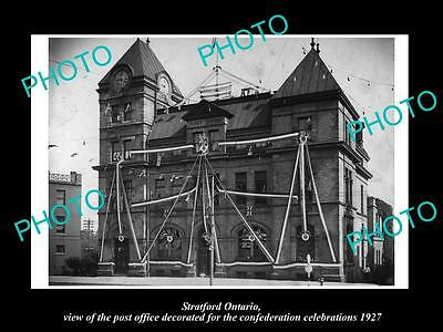 OLD LARGE HISTORIC PHOTO OF STRATFORD ONTARIO CANADA, THE POST OFFICE c1927
