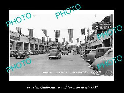 OLD LARGE HISTORIC PHOTO OF BRAWLEY CALIFORNIA, VIEW OF THE MAIN STREET c1937