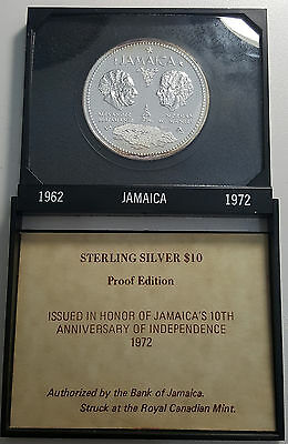 1972 Jamaica 10 Dollars $10 GEM Proof In Case of Issue 1.46oz Silver KM# 60