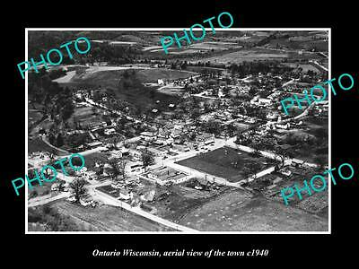 OLD LARGE HISTORIC PHOTO OF ONTARIO WISCONSIN, AERIAL VIEW OF TOWN c1940