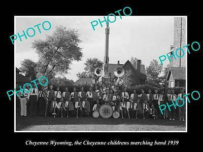 OLD LARGE HISTORIC PHOTO OF CHEYENNE WYOMING, THE KIDS MARCHING BAND c1939