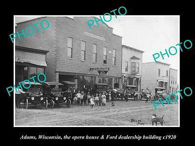 OLD LARGE HISTORIC PHOTO OF ADAMS WISCONSIN, THE OPERA HOUSE & GARAGE c1920