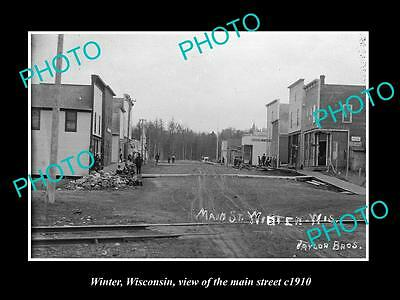 OLD LARGE HISTORIC PHOTO OF WINTER WISCONSIN, VIEW OF THE MAIN STREET c1910