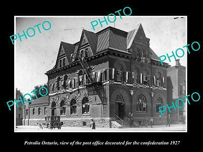 Old Large Historic Photo Of Petrolia Ontario Canada, The Post Office 1927