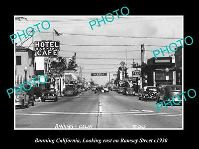 OLD LARGE HISTORIC PHOTO BANNING CALIFORNIA, VIEW OF RAMSEY STREET c1940
