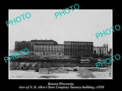 OLD LARGE HISTORIC PHOTO OF KENOSA WISCONSIN, THE ALLENS TANNERY FACTORY c1930