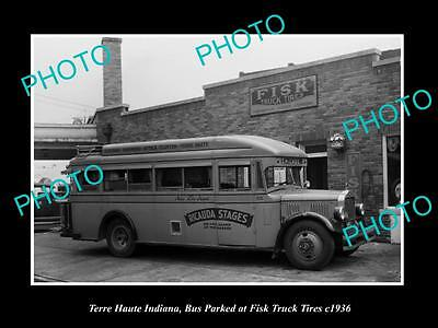 OLD LARGE HISTORIC PHOTO OF TERRE HAUTE INDIANA, BUS AT FISK TRUCK TIRES c1936