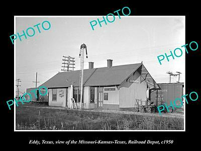 OLD LARGE HISTORIC PHOTO OF EDDY TEXAS, VIEW OF THE RAILROAD STATION c1950