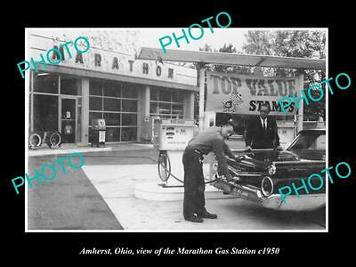OLD LARGE HISTORIC PHOTO OF AMHERST OHIO, VIEW OF THE MARATHON GAS STATION c1950