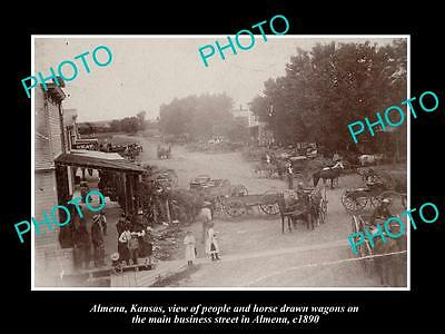 OLD LARGE HISTORIC PHOTO OF ALMENA KANSAS, VIEW OF THE MAIN St & STORES c1890
