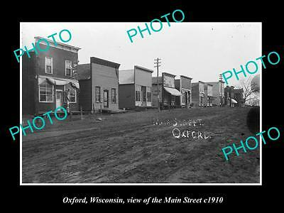 OLD LARGE HISTORIC PHOTO OF OXFORD WISCONSIN, VIEW OF THE MAIN STREET c1910