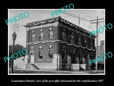 Old Large Historic Photo Of Leamington Ontario Canada, The Post Office 1927