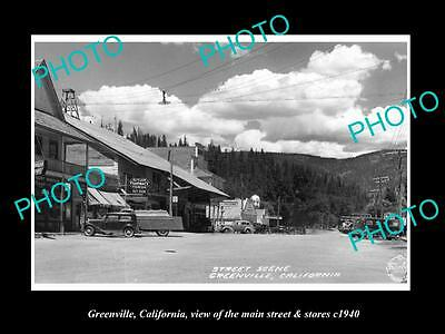 OLD LARGE HISTORIC PHOTO GREENVILLE CALIFORNIA, THE MAIN St & STORES c1940