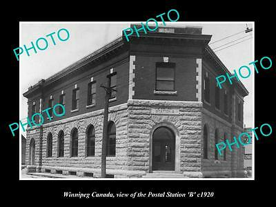OLD LARGE HISTORIC PHOTO OF WINNIPEG CANADA, THE POST OFFICE STATION B c1920