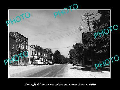 OLD HISTORIC PHOTO OF SPRINGFIELD ONTARIO CANADA, THE MAIN St & STORES c1950