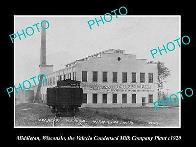 OLD LARGE HISTORIC PHOTO OF MIDDLETON WISCONSIN, THE VALENCIA MILK Co PLANT 1920
