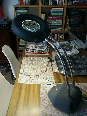 Vintage industrial MAGGYLAMP magnifying light, atomic mid century retro 60s lamp