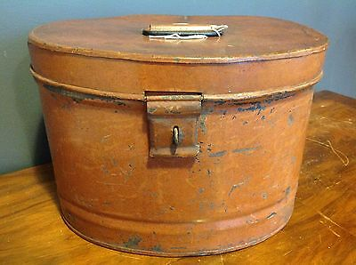 Large Antique Victorian Amber Painted Metal Hat Box