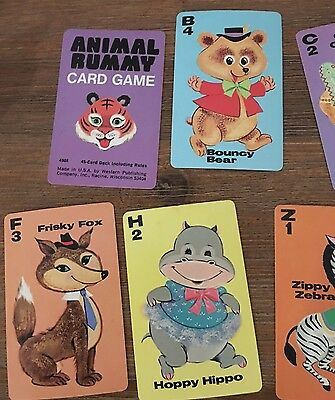 Vintage Retro Animal Rummy Card Game Kitsch, Complete Set Swap Cards