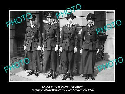 OLD LARGE HISTORIC PHOTO OF BRITISH WWI WOMENS WAR EFFORT POLICE FORCE c1916