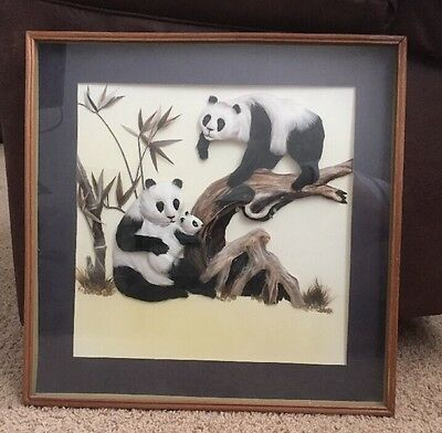VINTAGE ASIAN 100% Feather Art of Pandas on Tree with Baby Wood Frame