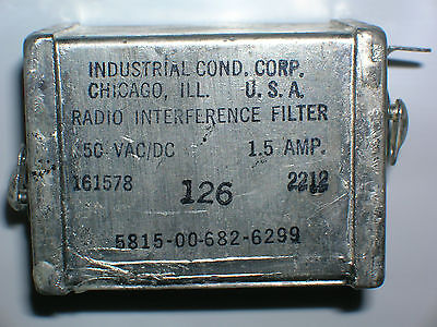 Radio interference filter 150 VAC/DC 1.5 Amp, Industrial Cond Corp 161578