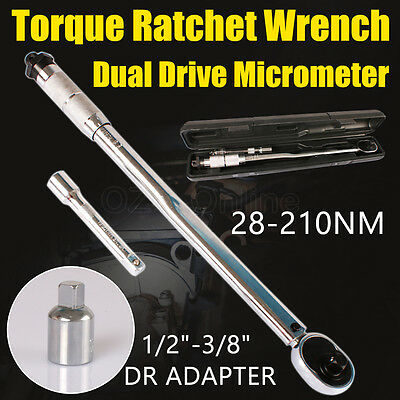"1/2"" Adjustable Dual Drive Micrometer Torque Ratchet Wrench 28-210NM Tools Case"