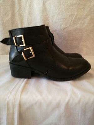 Womens Ladies Ankle Boots Size Uk 7 Black Faux Leather  (275)