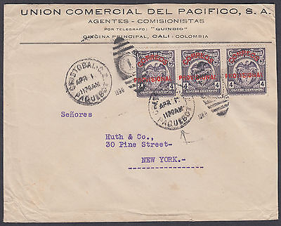 1928? Colombia PROVISIONAL; Paquebot to Huth & Co New York, USA
