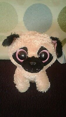Ty Beanie Boo Pugsly Pug Dog Rare and Retired - WITH TAGS - Soft Toy Pugsley