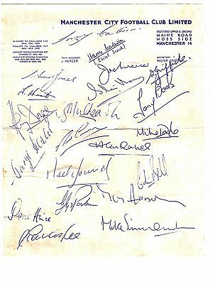 MANCHESTER CITY Football Club FACSIMILE Signed AUTOGRAPHS Signatures 1950s