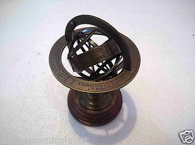 Antique Brass Armillary Globe Horoscope Vintage Collectible Decorative 5 ""