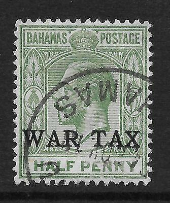 BAHAMAS  SG 91  THE DIFFICULT 1918  1/2d GREEN   OVERPRINTED WAR TAX  FINE USED