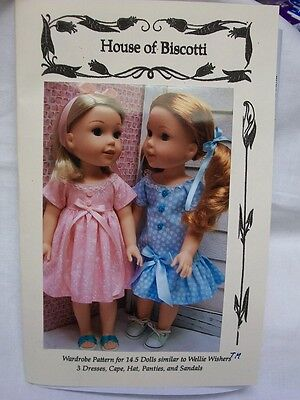 """14.5"""" Doll Wardrobe Pattern for Wellie Wishers, Dresses, Cape, Sandals"""