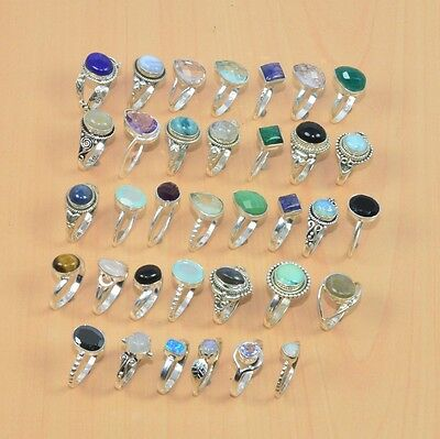 35Pc Wholesale 925 Solid Sterling Silver Natural Tiger Eye & Mix Stone Ring Lot