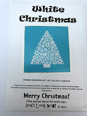 White Christmas Snowflake Christmas Tree Applique Quilt Pattern Don't Look Now