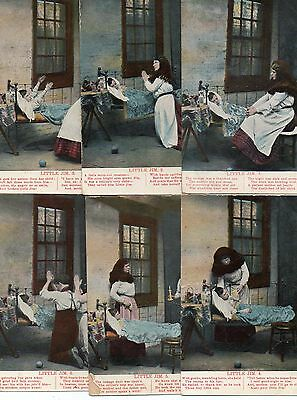 SUPER 1914c SET OF 6 SONG CARDS LITTLE JIM SAD ILL CHILD VINTAGE POSTCARD