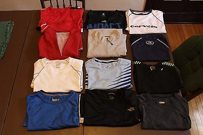 LOT of 12 BASE LAYERS shirts training north face ADIDAS nike etc cycling clothes