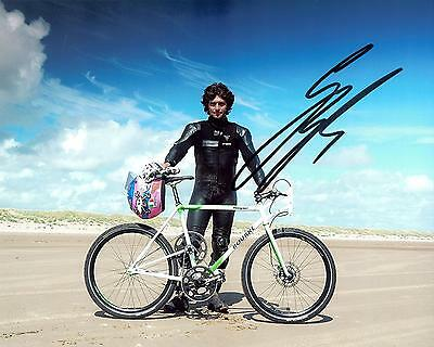 Guy Martin Signed 10 x 8 Speed Series Pushbike record picture & proof.