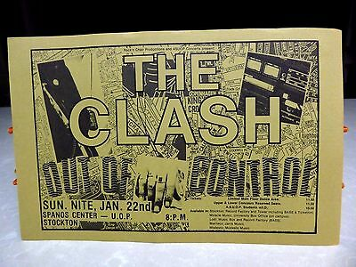 1980's The Clash Concert Handbill Poster Stockton CA Out of Control