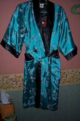 Vintage Thai brocade dressing gown, embroidered dragon, reversible, M