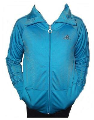 ADIDAS Girls Tracksuit top Jacket polyester Zip up Sizes 7-8,11-12,15-16yrs BLUE